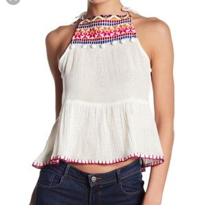 Saylor Cecily Embroidered halter top